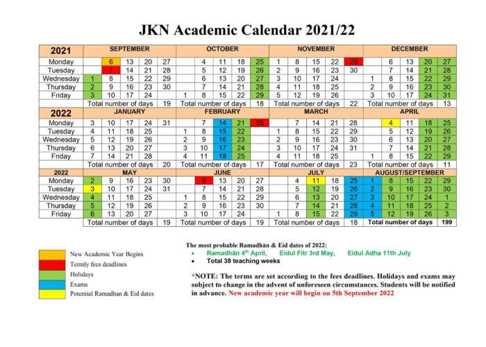 JKN Academic Calendar 2021-22